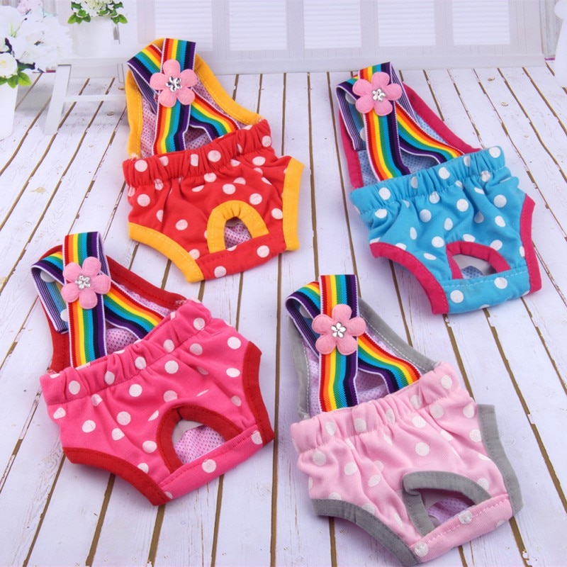 Dots Pet Dog Shorts Diaper Sanitary Physiological Pants Washable Female Short Panties Menstruation U