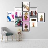 Vinsonloud     affiche de decoration de maison imprimee  toile dart murale  peinture en aerosol  mode nordique  rose dore  ananas Rde
