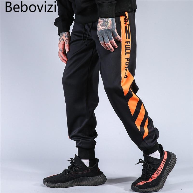 Bebovizi Brand Hip Hop Streetwear Color Block Patchwork Striped Sweatpants Rap Men Casual Joggers Harem Track Pants Men Trousers