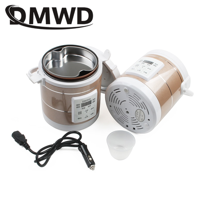 dmwd electric intelligent slow cookers mini timing water stewing soup porridge pots multifunctional ceramic whiteware liner 0 7l DMWD 12V 24V Mini Rice Cooker Car Truck Soup Porridge Cooking Machine Food Steamer Electric Heating Lunch Box Meal Heater Warmer