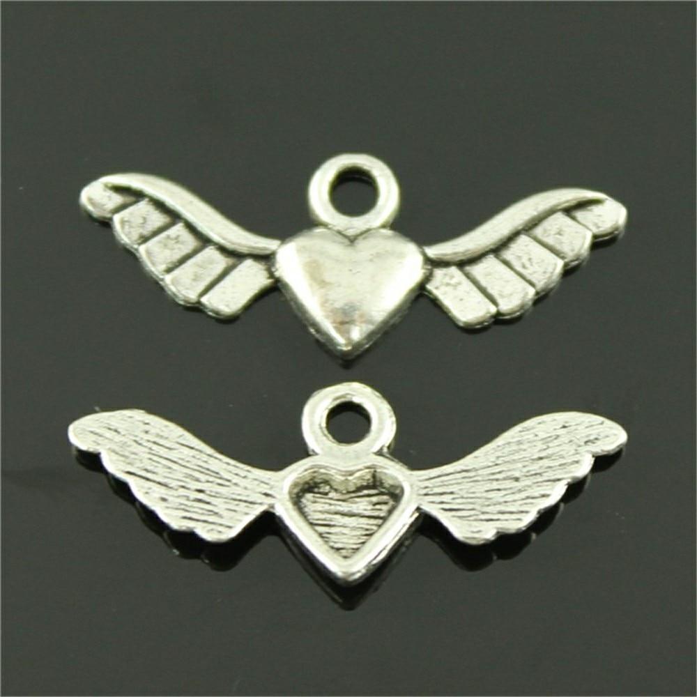 8 pçs/pçs/lote asa coração encantos para fazer jóias 27x10mm antigo prata cor acessórios