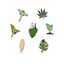 Broches de mode en métal épinglette boucles feuille dor vert Shoot feuille dérable sac Badge chat bijoux femmes accessoires Denim chapeau icône