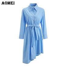 Женское Ассиметричное платье Cerulean, повседневное офисное голубое плиссированное платье с длинным рукавом и поясом, хлопковая Туника размер...