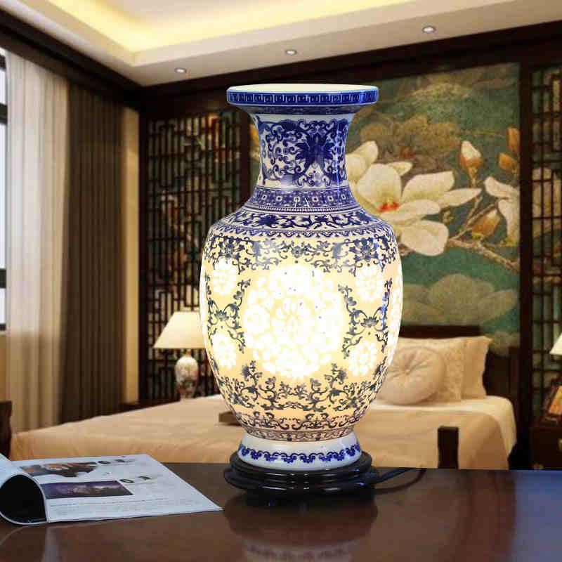 China Antique Living Room Vintage Table Lamp Porcelain Ceramic Table Lamp wedding decoration ceramic base table lamp