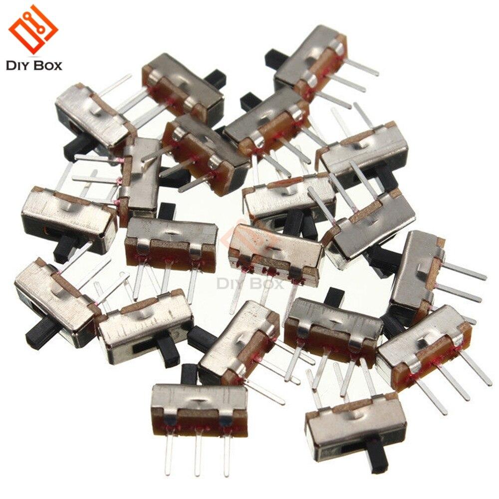 20 piezas SS12D00G3 interruptor de palanca 2 posiciones SPDT 1P2T 3 pines PCB Panel mini interruptor deslizante vertical