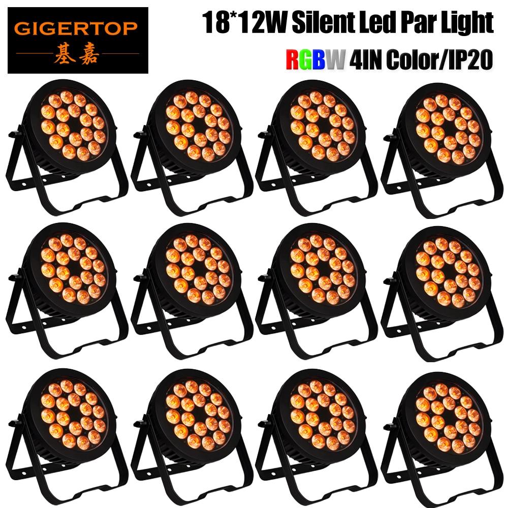 Precio de descuento 12 unidades Par64 LED 18x12W RGBW 4IN1 Color interior aluminio Par luz no impermeable DMX512 etapa Disco Luz