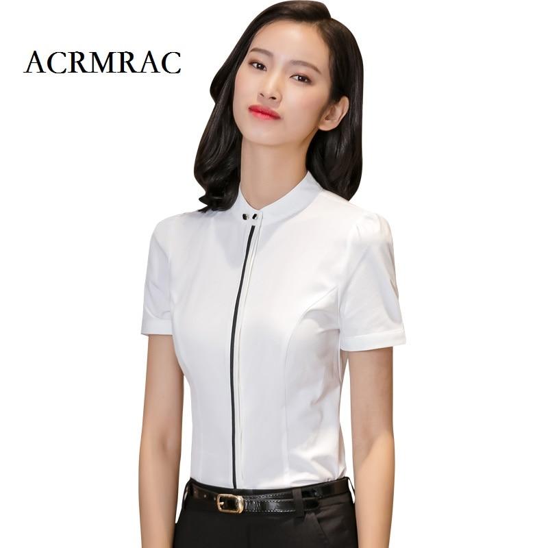 ACRMRAC 2018 New Women Short sleeve Solid color Slim OL Business Formal Blouses Shirts