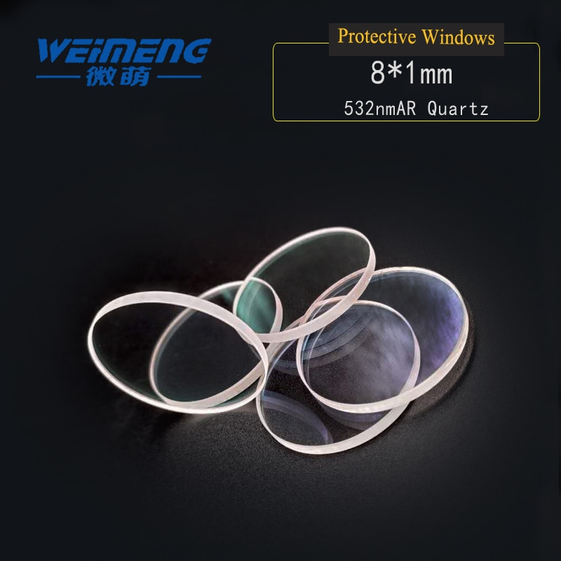 Weimeng Laser protective windows 8*1mm 532nmAR  circular & plano JGS1 quartz for laser cutting welding engraving machine