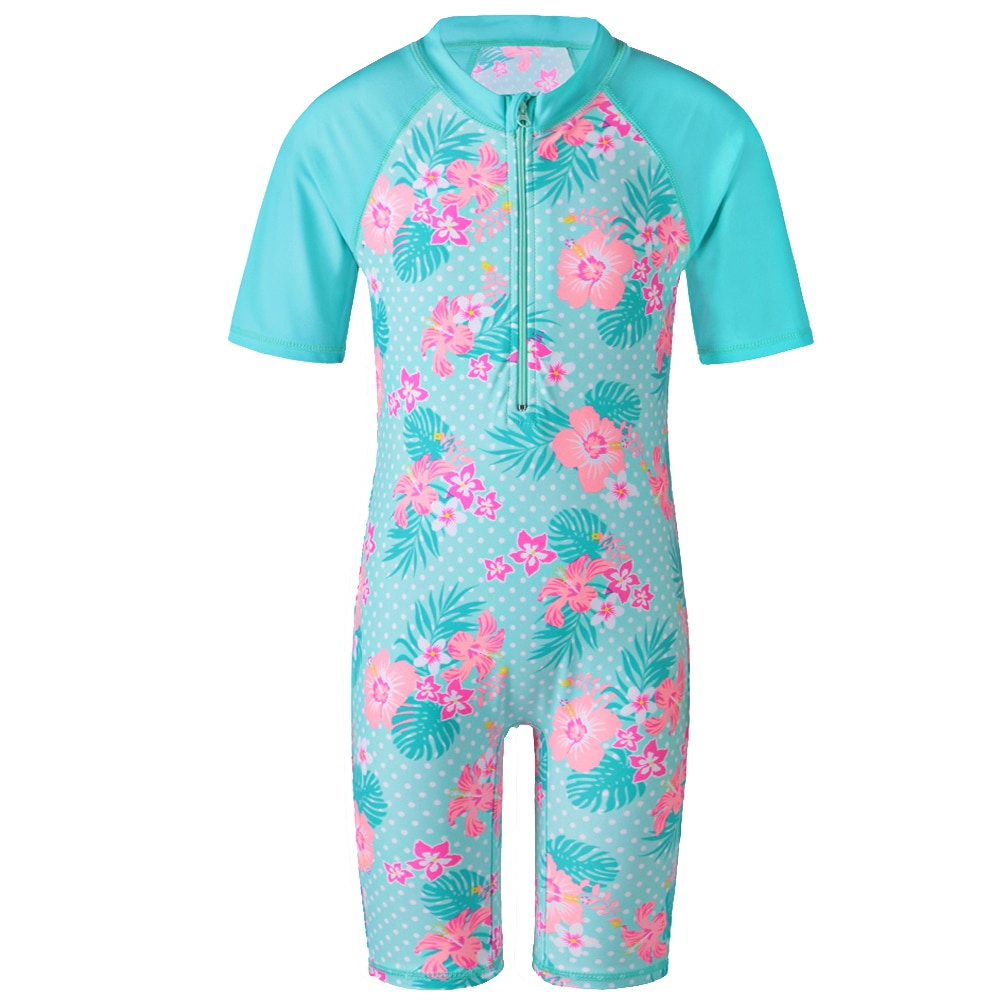 BAOHULU Baby Girls Rash Guards Surf Cyan Swimwear with Zipper UV 50+ Sun Beachwear Short Sleeve One-Piece Set Swimsuit for 2-11Y