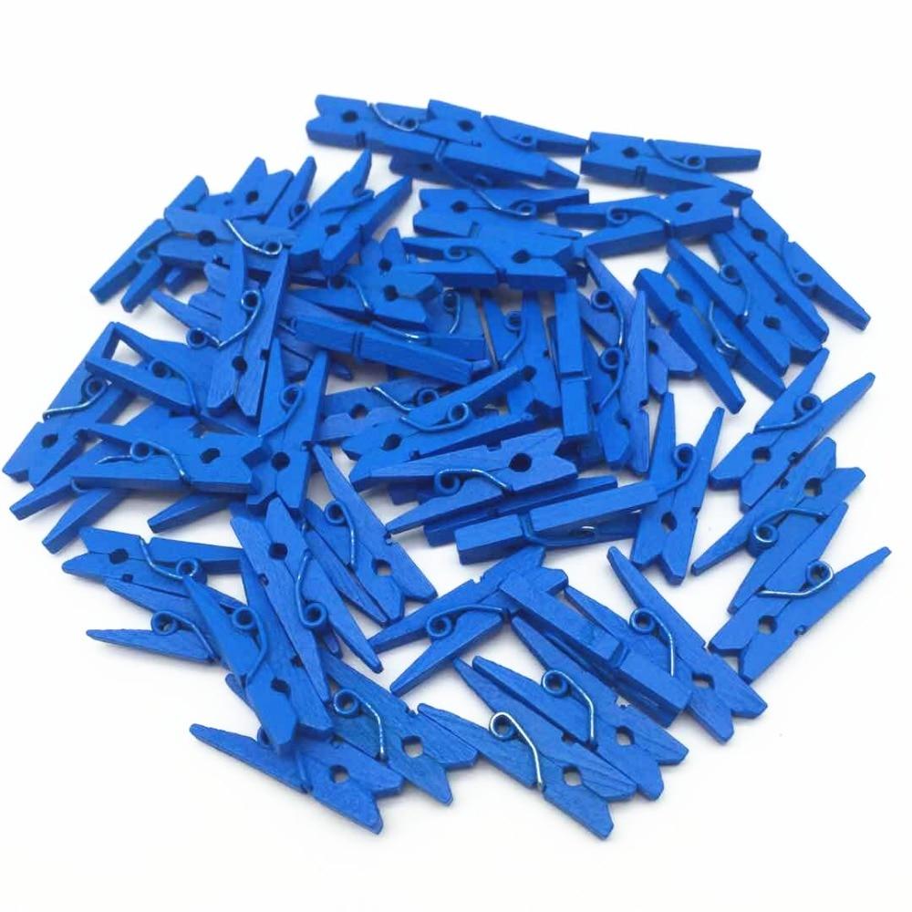 """100 Uds 1 """"pinzas de madera para ropa azul real Mini pinzas para ropa para álbum de recortes estampado regalo embalaje boda decoraciones clavijas"""