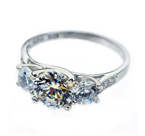 Anillo de compromiso de 1,7 CT con tres piedras de diamante de 18K y 585 de oro blanco para mujer, joyería AU750 de oro, anillo de boda en oro sólido