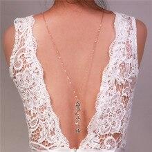 Toile de fond collier roman design cristal long pendentif colliers dos profond V licou dos chaîne bijoux de mariage mariée accessoires