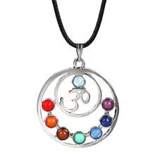 7 Chakras Reiki pierres pendentifs santé amulette guérison 7 Chakra 3D symboles pierre pendentif à breloques collier