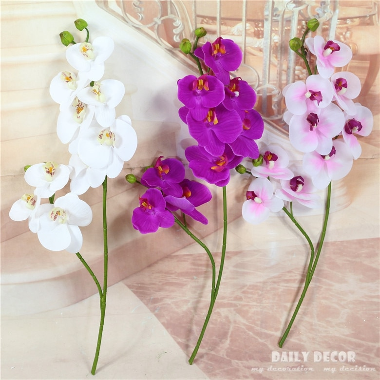 Настоящие маленькие 2 вилки 9 головок Искусственные пластиковые цветы орхидеи-Бабочки Оптом Свадебные Декоративные фаленопсис 10 шт