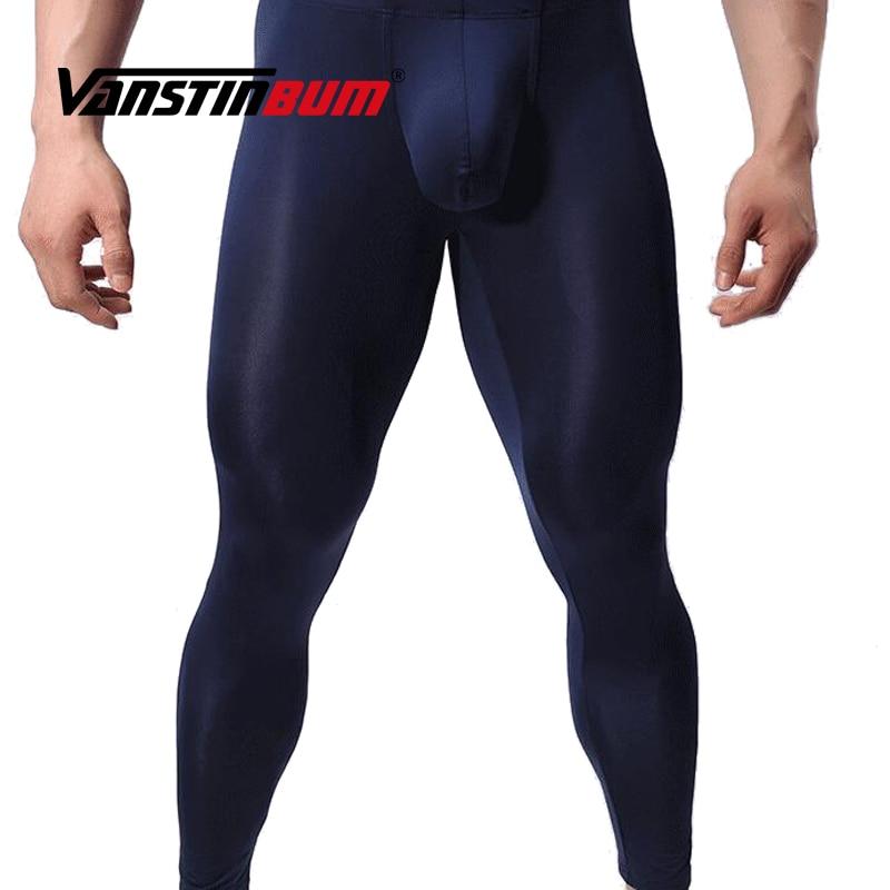 VANSTINBUM Long Johns Sheer Long Pants Sexy Gay Transparent See Through Tights Leggings Lounge Exotic  Bulge U Pouch Underwear