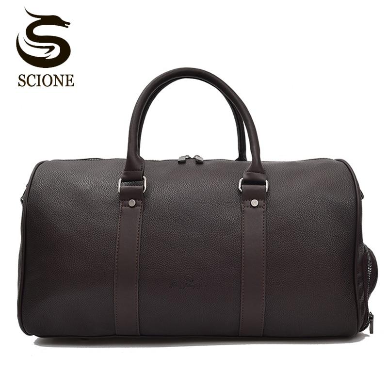 Black/Brown Solid Color PU Leather Handbag Men Travel Duffel Bags Women Female Shoulder Bag Leather Tote for Male Travel Luggage