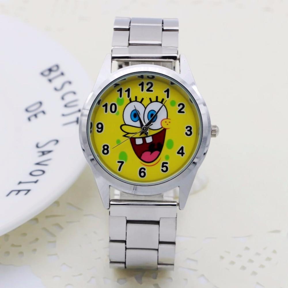 NEW Cute Cartoon Pretty SpongeBob style Children's Watches Women's Student Girls boys Quartz Metal steel Wrist Watch