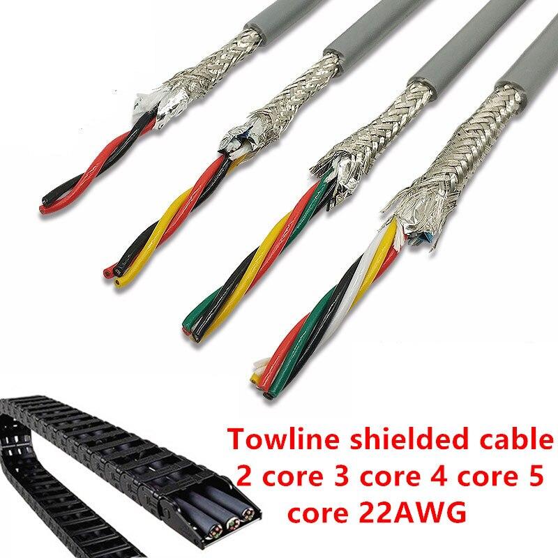 20/18/22awg 2-8 núcleo towline blindado cabo 5m pvc fio flexível trvvp resistência a dobrar o fio de cobre resistente à corrosão