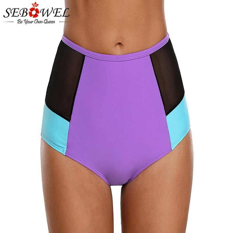 SEBOWEL Womens  Plus Size Purple Blue Full Back Coverage Bikini Bottom Swimwear Bathing Beach Short Swimsuit Biquinis Feminino