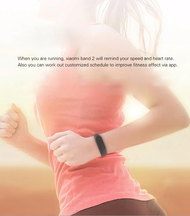 Oryginalny xiaomi mi kompania 2 miband bransoletka wistband inteligentnego tętno fitness ekran oled wyświetlacz dla iphone 7 touchpad bluetooth 19