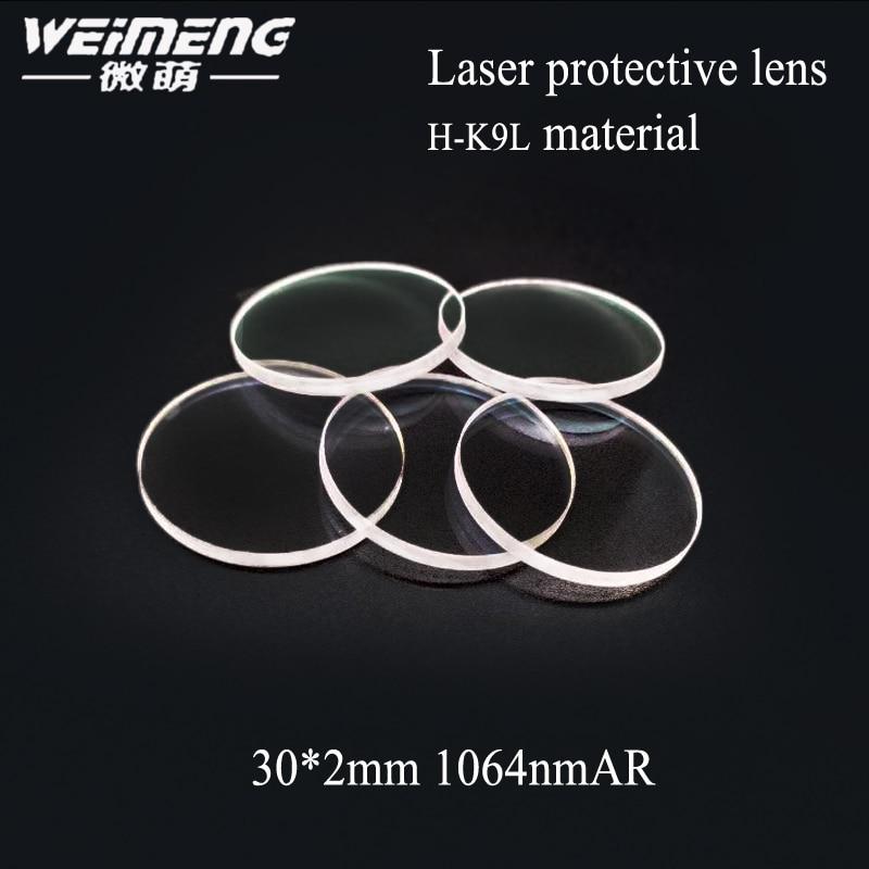 Weimeng marca fábrica suministro directo 30*2mm circular K9 lente de protección láser y película de vidrio de ventana para láser máquina de corte