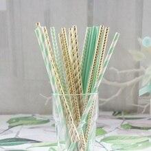 Limite vente 25 pièces or printemps vert paille   Paille design, pailles à boire, décoration pour fête danniversaire, mariage réception-cadeau pour bébé