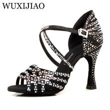 WUXIJIAO femmes Salsa party Ballroom chaussures chaussures de danse latine grand petit strass brillant peau noir satin Cuba talon 9cm