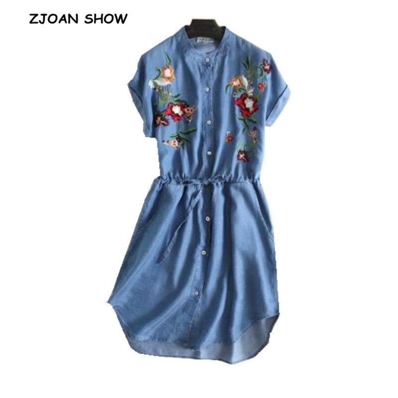 Casual color bordado flor thin Denim Vestidos 2018 mujeres de manga corta cordón en la cintura vaqueros Vestidos de traje