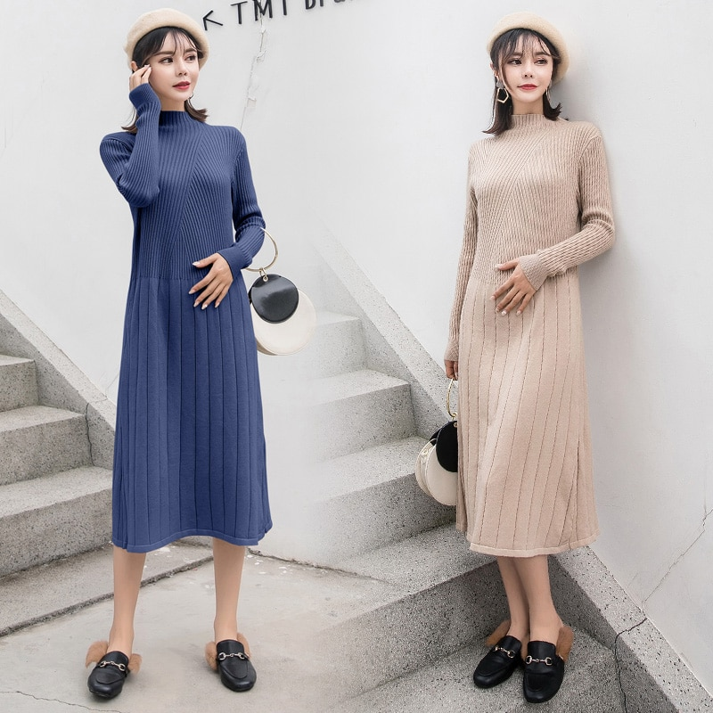 Pregnancy Clothes Loose Maturnity Sweaters Solid Color Autumn Winter Maternity Dress Long Pregnant Sweater Dress High Neck enlarge