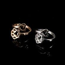 Nouveau mignon mode creux coeur et chien pied imprimer belles Parties bijoux réglable or/argent bagues à breloque