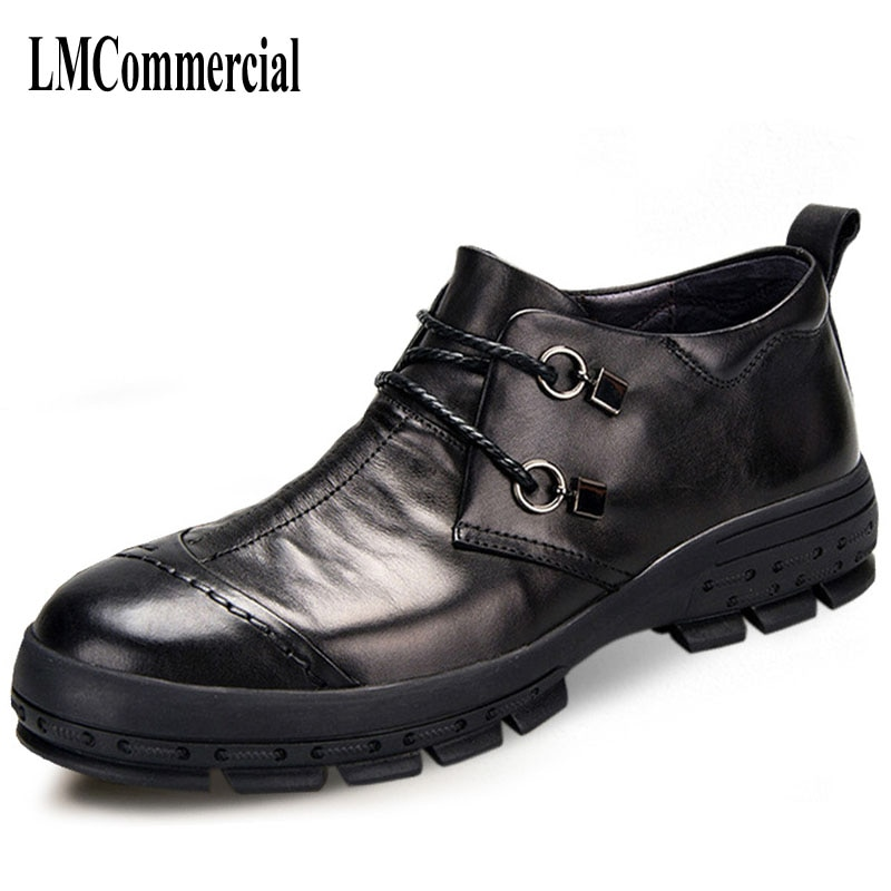 Mens Business Casual Shoes Leather Shoes Men Spring Autumn British Retro Breathable Handmade fashion All-match Cowhide the new winter boots leather men and retro zipper flat all match martin boots casual shoes breathable handmade fashion british