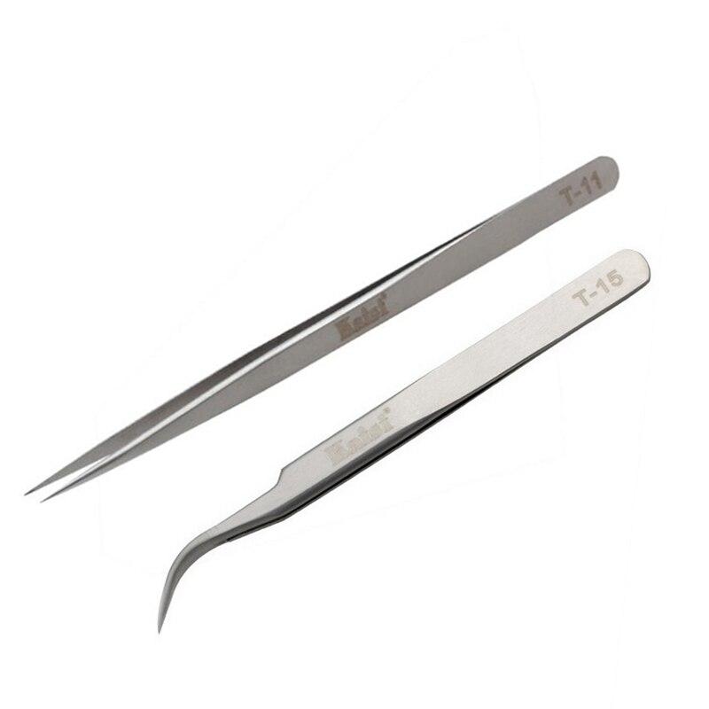 Pinzas rectas Kaisi de acero inoxidable de alta precisión para teléfono móvil, Tablet, herramientas de reparación de ordenadores, alicates de recogida de joyas de diamantes