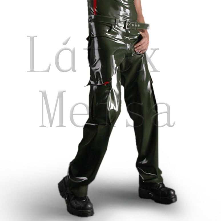 Army green color cargo latex pants plus size latex trousers for men
