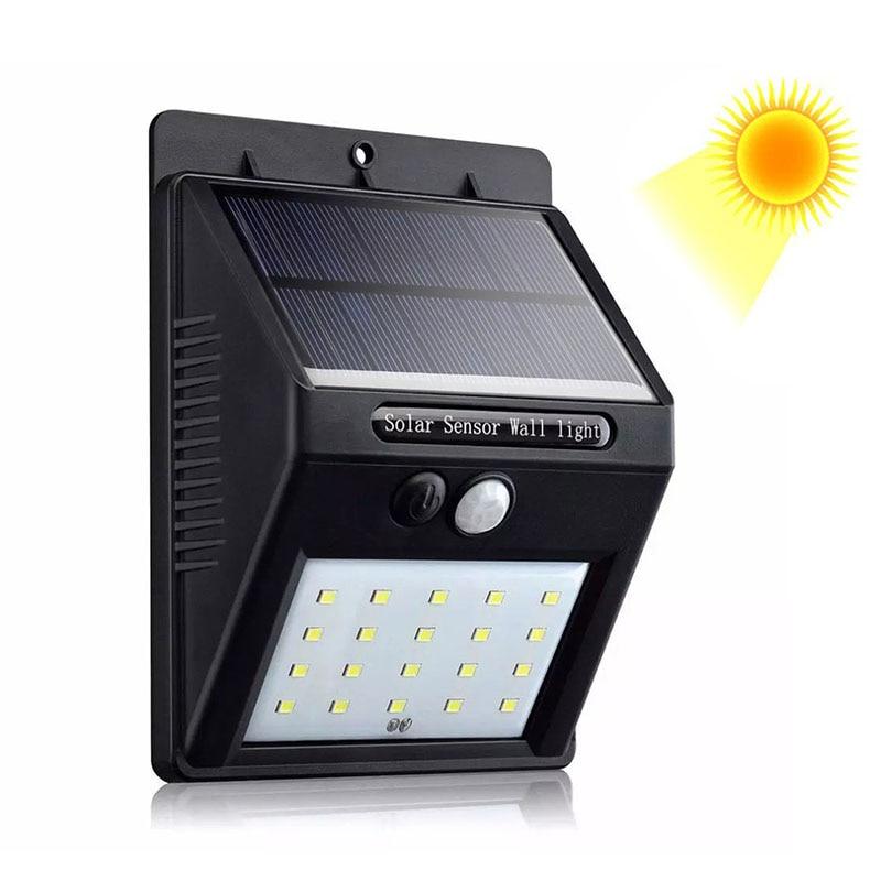 Luces solares para exteriores de pared 20/30 luces LED con Sensor Solar para el hogar, exterior, impermeable, lámpara de seguridad para uso en jardín y exterior