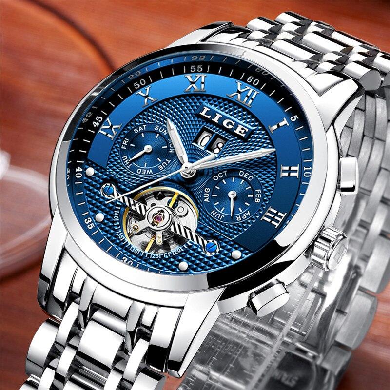 LIGE-ساعة ميكانيكية أوتوماتيكية للرجال ، ساعة يد رجالية فاخرة ، أعمال ، فولاذ كامل ، رياضية ، مقاومة للماء