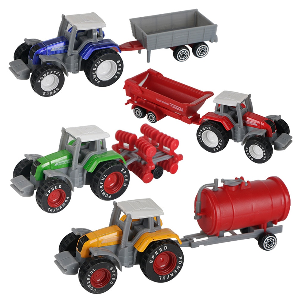 De Metal + ABS fundido a presión Tractor de granja coches juguetes vehículo-disco arado tanque de agua vagón remolque volquete
