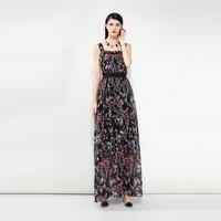 2020 summer new arrival fashion a line square collar spaghetti strap sleeveless print ankle length long dress women