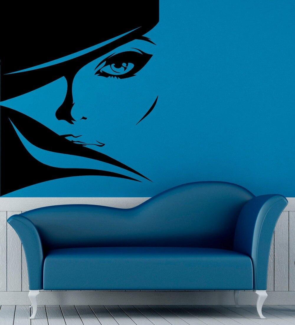 Chica belleza salón pared calcomanía mujer Sexy cabello moderno Vinilos decoración hogar Interior pared adhesivo pegatinas DIY arte MuralSYY370