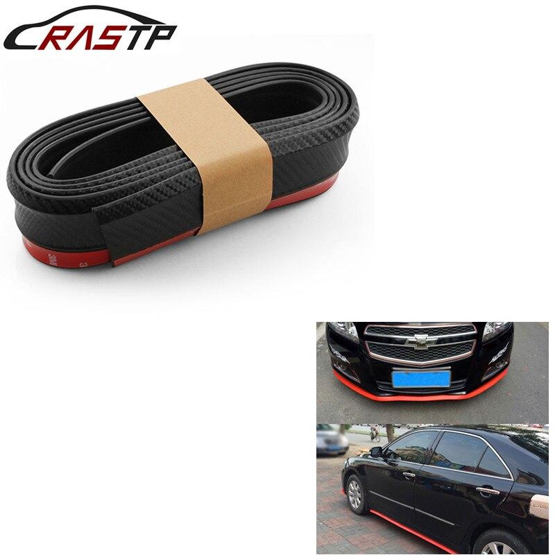 RASTP-2.5m coche protectores de separador de labios de parachoques delantero etiqueta engomada del coche Kits de cuerpo paragolpes Spoiler cenefa tira de goma de coche RS-LKT006-3D