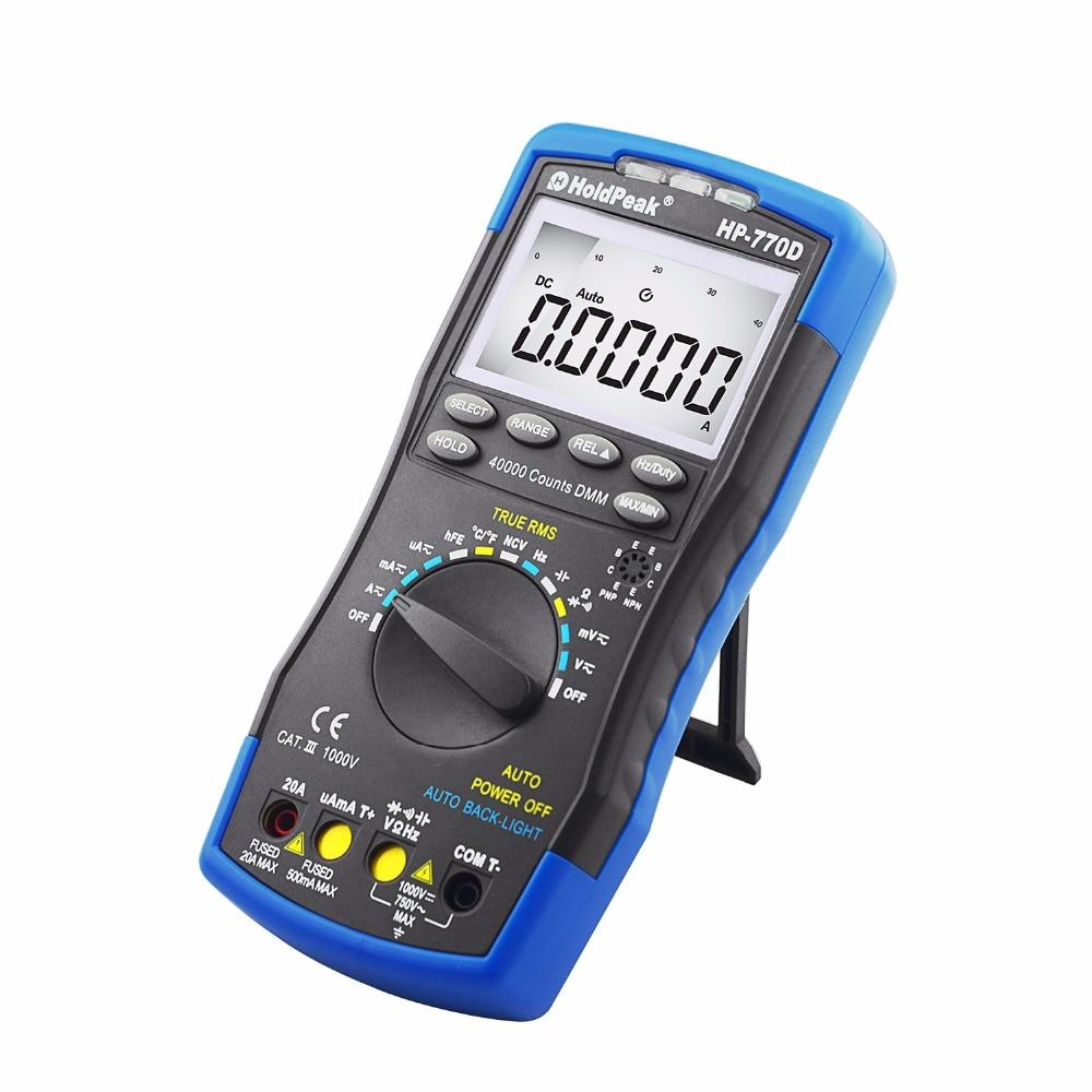 Multímetro Digital HoldPeak Tester HP-770D multímetro de rango automático valores eficaces verdaderos 40000 recuentos miden ohmios Volt Amp Tester condensador Esr