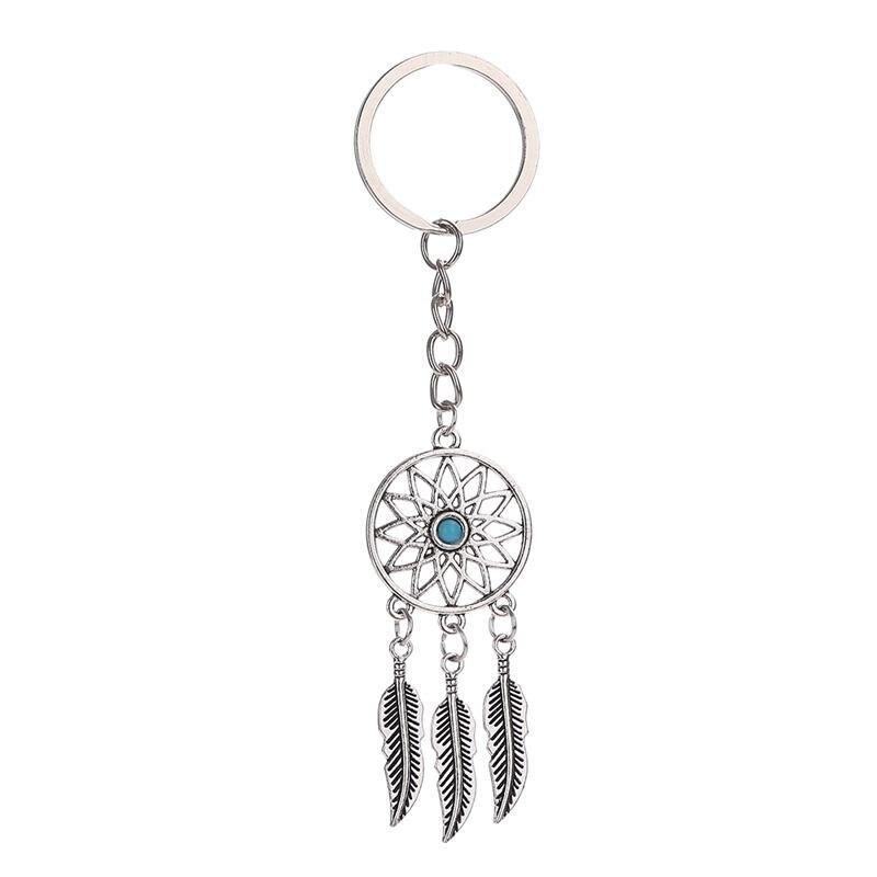 Llavero, colgante de llave de coche atrapasueños llavero de borla de pluma turquesa para bolso