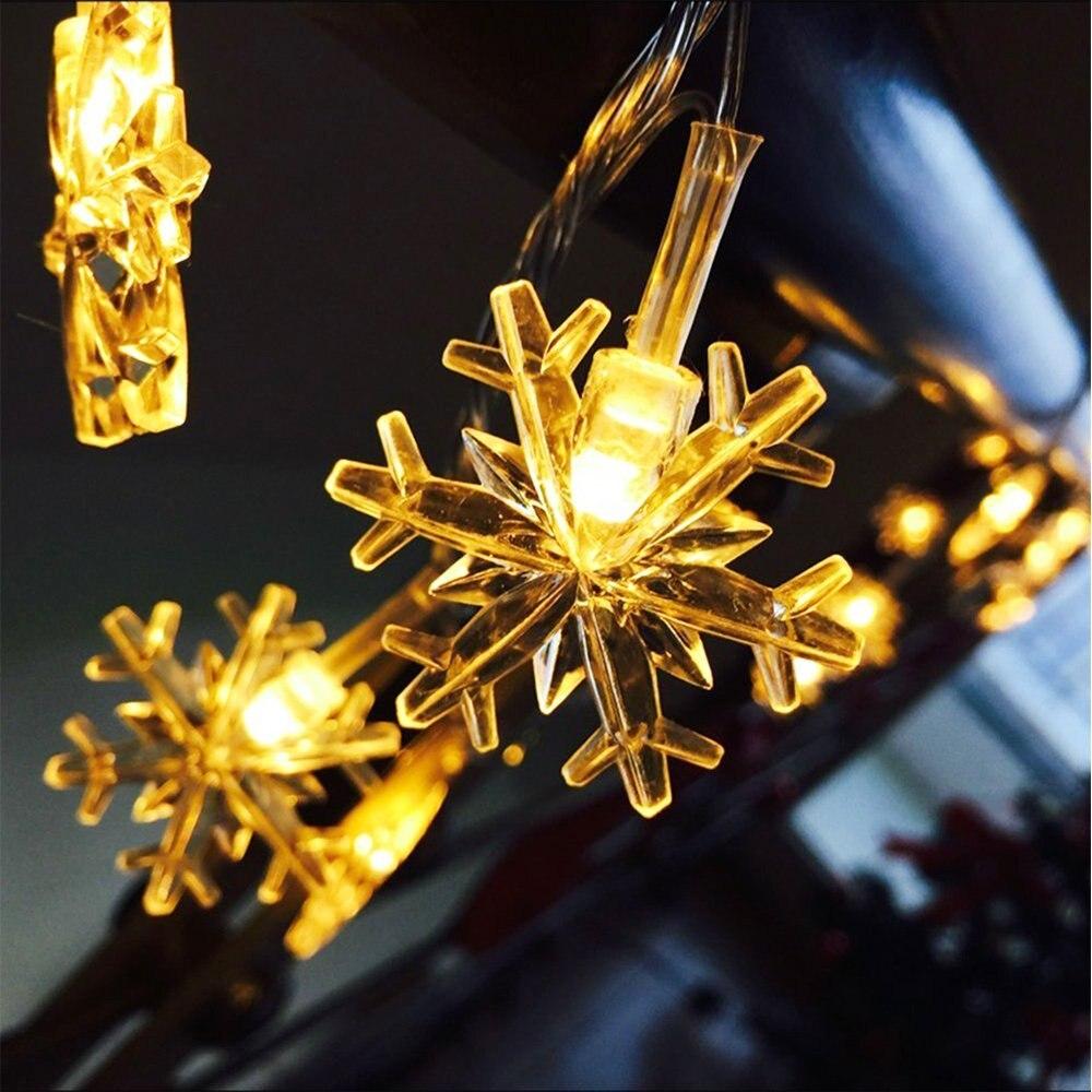 Cadena de copos de nieve luz Navidad 10/20/50LED luces de hadas al aire libre AA BatteryUSB Powered Garland luces iluminación decorativa