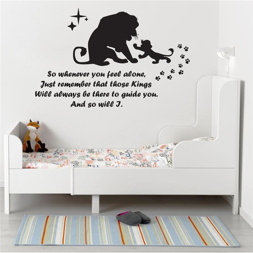 Calcomanía de pared León rey Art Deco para familia adolescente niños niño dormitorio cuarto de niños decoración artística calcomanías de pared de dibujos animados J312