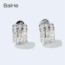 BAIHE, oro blanco liso de 14 quilates, 0,70 CT H/SI, diamantes naturales redondos, regalo de boda, joyería fina, pendientes de tuerca de diamante a la moda para mujer