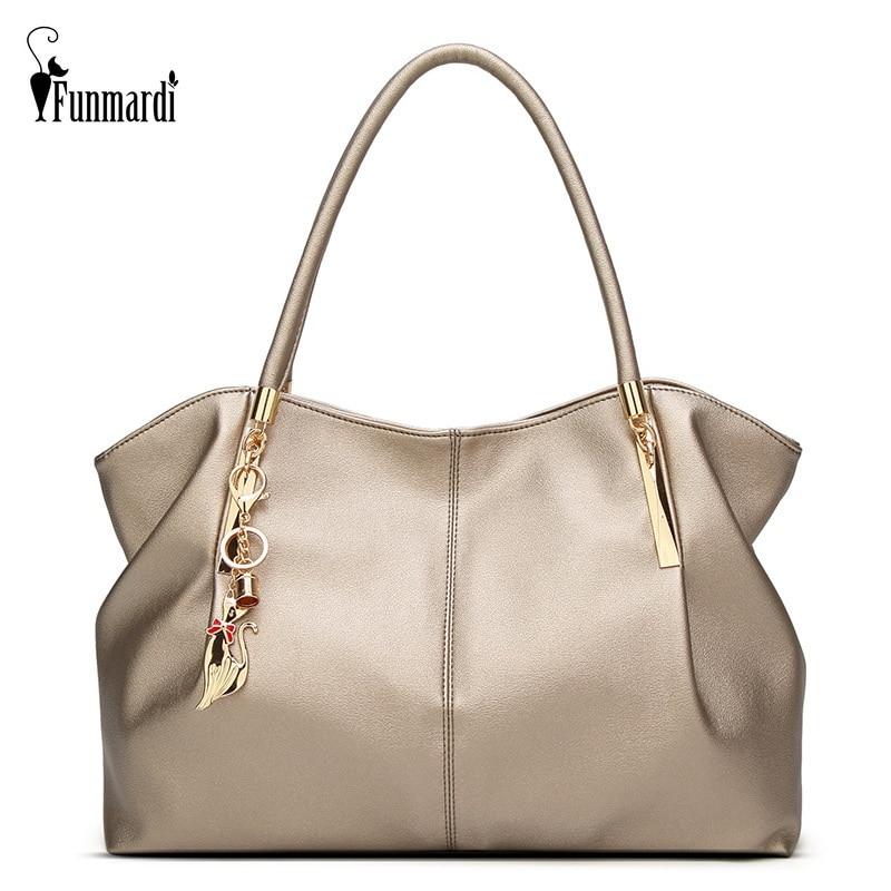 FUNMARDI 2020 Luxury Women Handbags PU Leather Women Bags Brand Designer Top-handle Bag Ladies Shoulder Bag Female Bag WLHB1778
