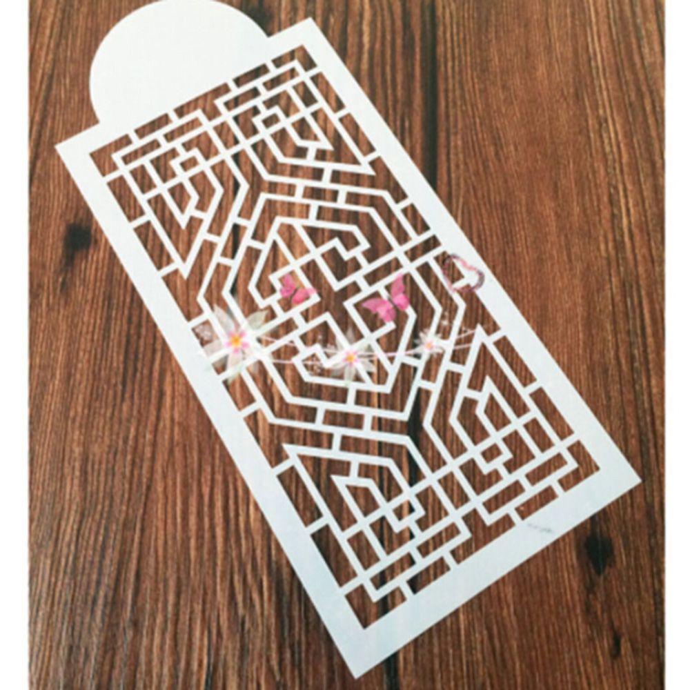 1PCS Retro Geometric Window Grille Reusable Stencil Airbrush Painting Art DIY Home Decor Book Album Crafts