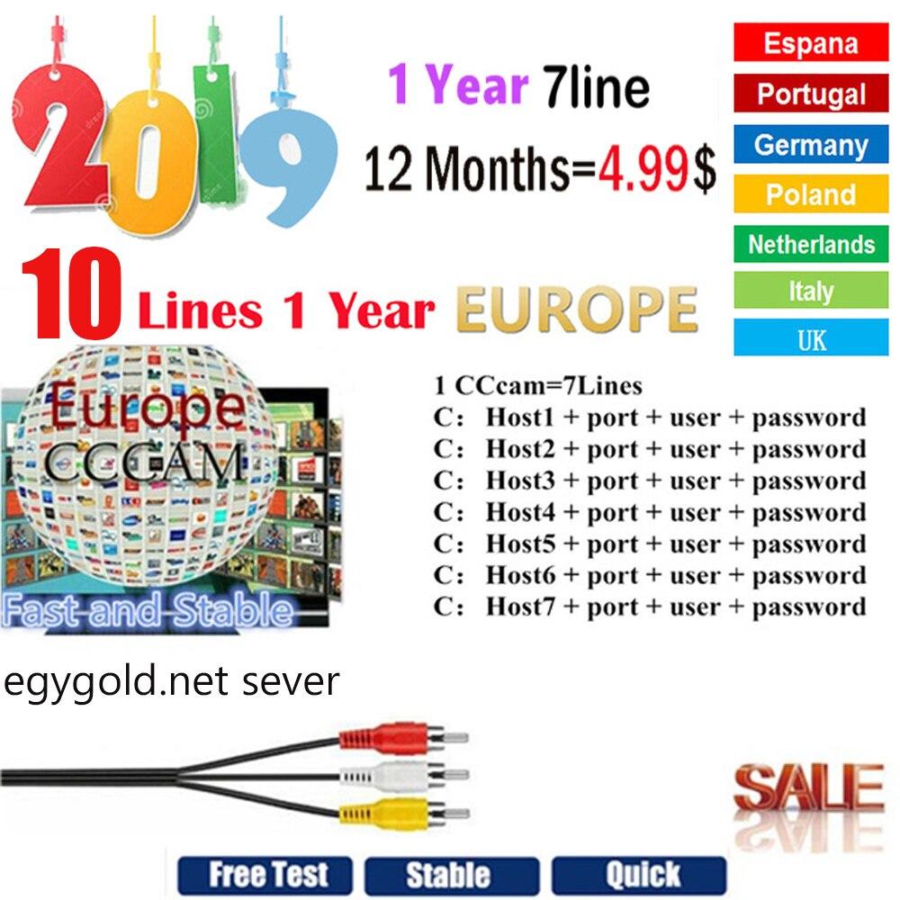 Самые стабильные cccams clines для Европы, Испания, спутниковый ТВ приемник 5/7/10 линий oscam mgcam WIFI FULL HD DVB-S2 Ccams для v7, 2019