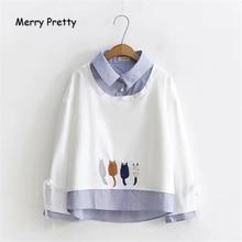 Merry Pretty Women Cartoon Cat Embroidery Hoodies 2019 Turndown Collar Long Sleeve Patchwork Fake 2 pieces Hoodies Sweatshirts