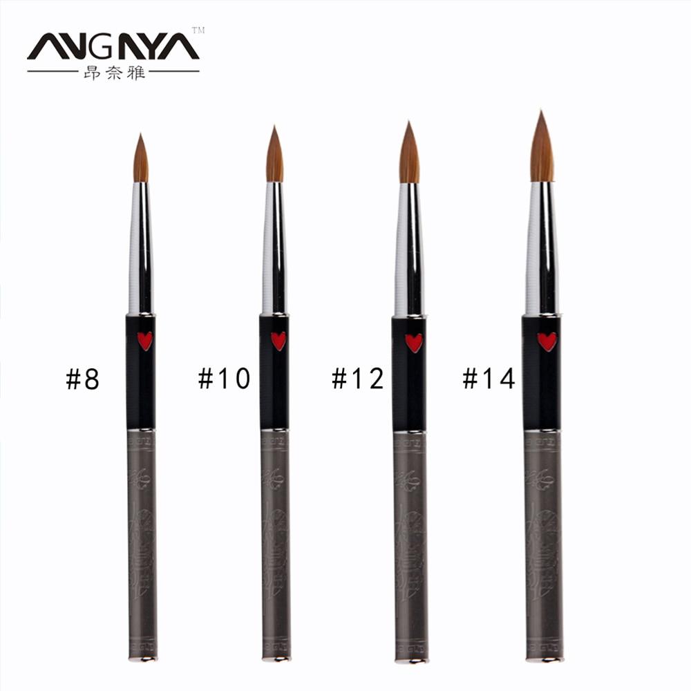 ANGNYA, nuevo pincel para uñas acrílicas, exquisito diseño, herramienta de manicura de Metal con corazón rojo, bolígrafo de cristal de estilo antiguo #8 #10 #12 #14