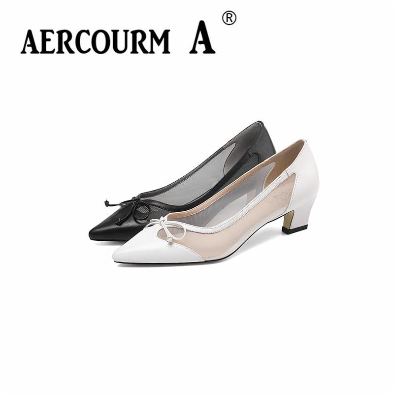 Bombas de Color sólido para mujer Aercourm A 2019 zapatos de cuero genuino para mujer zapatos cuadrados de tacón medio de malla de primavera blanca zapatos